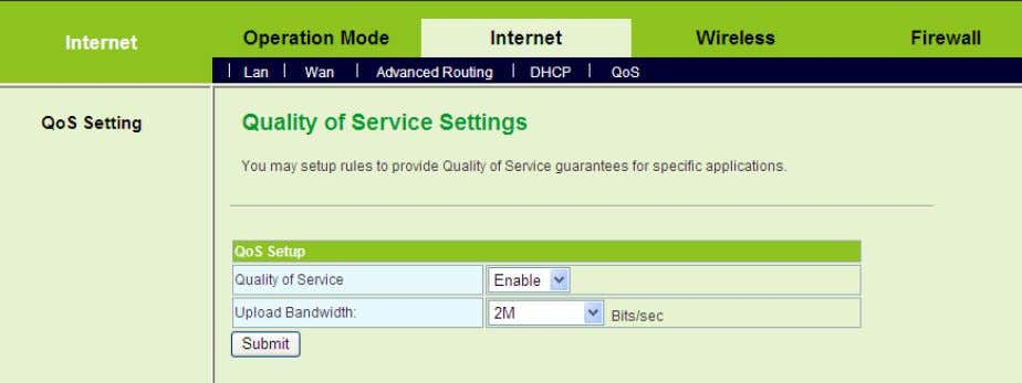 The examples of QoS Settings - Set the Upload Bandwidth On the Quality of Service Settings