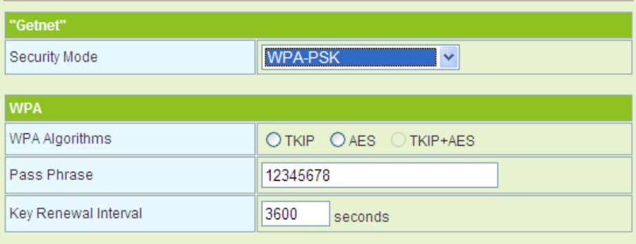 Idle Timeout Set the idle timeout. - WPA-PSK The parameters of WPA-PSK mode are described as