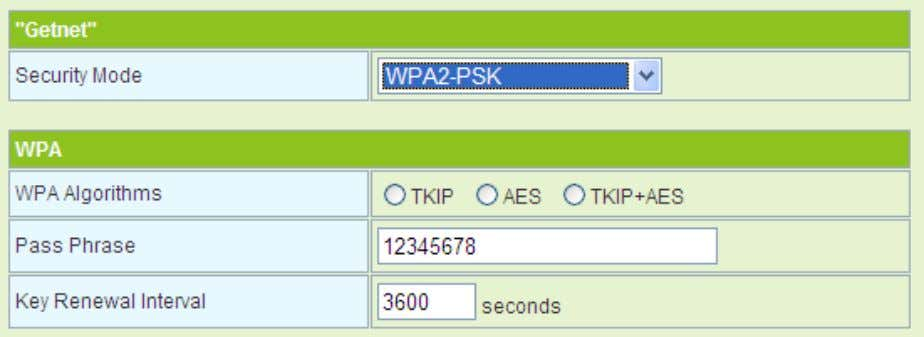 Idle Timeout Set the idle timeout. - WPA2-PSK The parameters of WPA2-PSK mode are described as