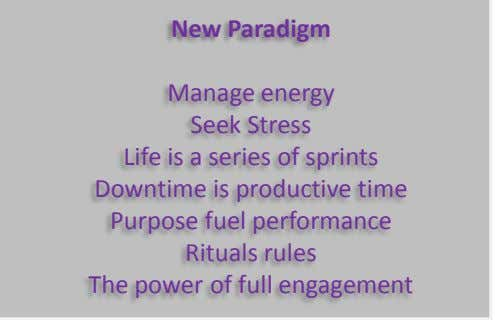 New Paradigm Manage energy Seek Stress Life is a series of sprints Downtime is productive