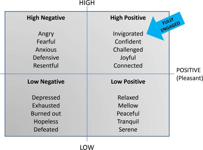 HIGH High Negative High Positive Angry Invigorated Fearful Confident Anxious Challenged Defensive Joyful