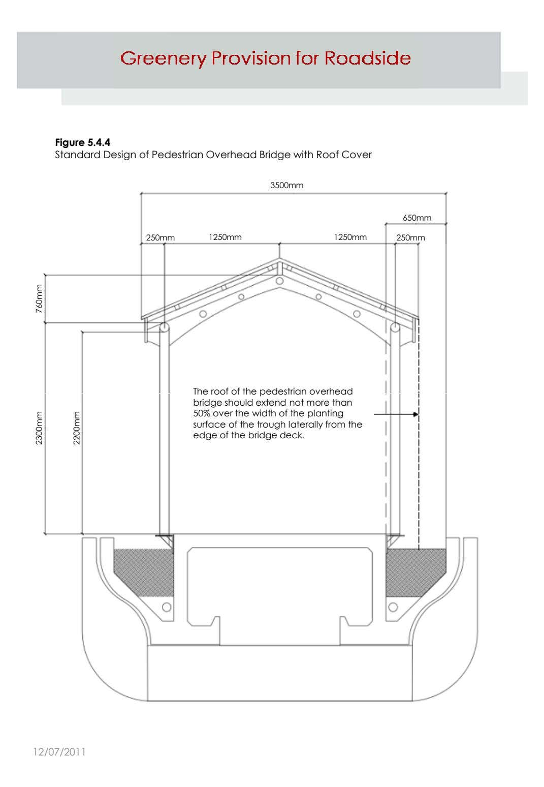 Figure 5.4.4 Standard Design of Pedestrian Overhead Bridge with Roof Cover 3500mm 650mm 250mm 1250mm