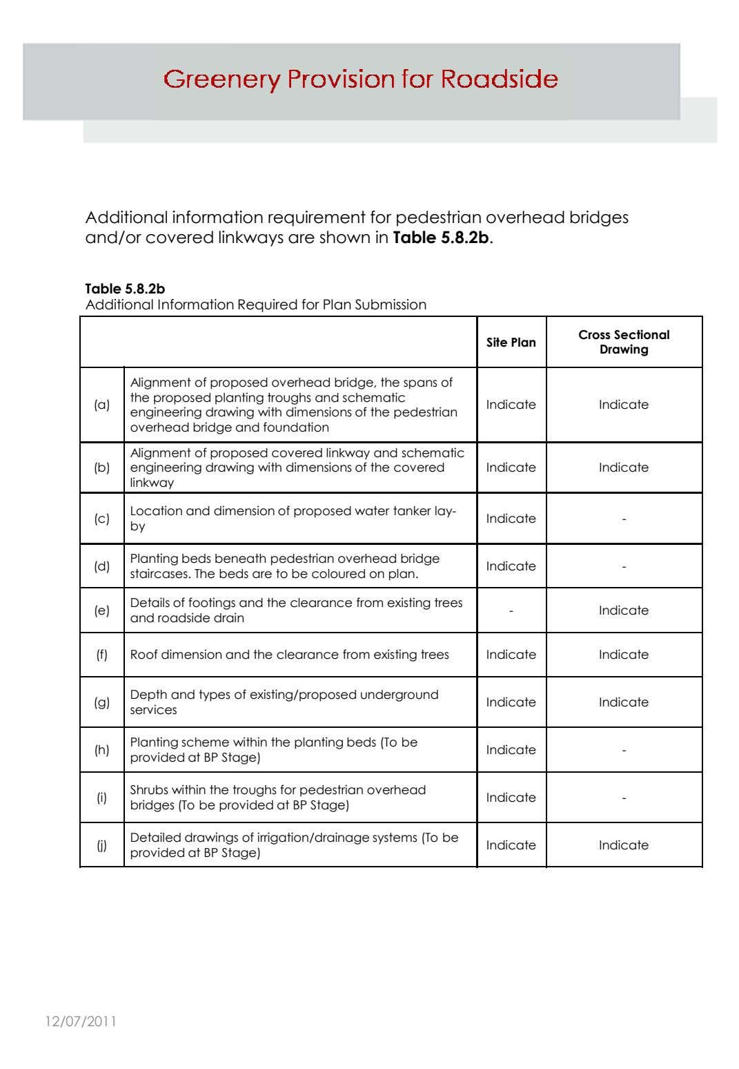Additional information requirement for pedestrian overhead bridges and/or covered linkways are shown in Table 5.8.2b.
