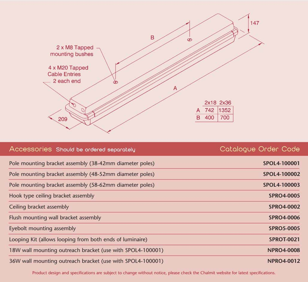 AAccessories Should bbe oordered sseparately Catalogue OOrder CCode Pole mounting bracket assembly (38-42mm diameter