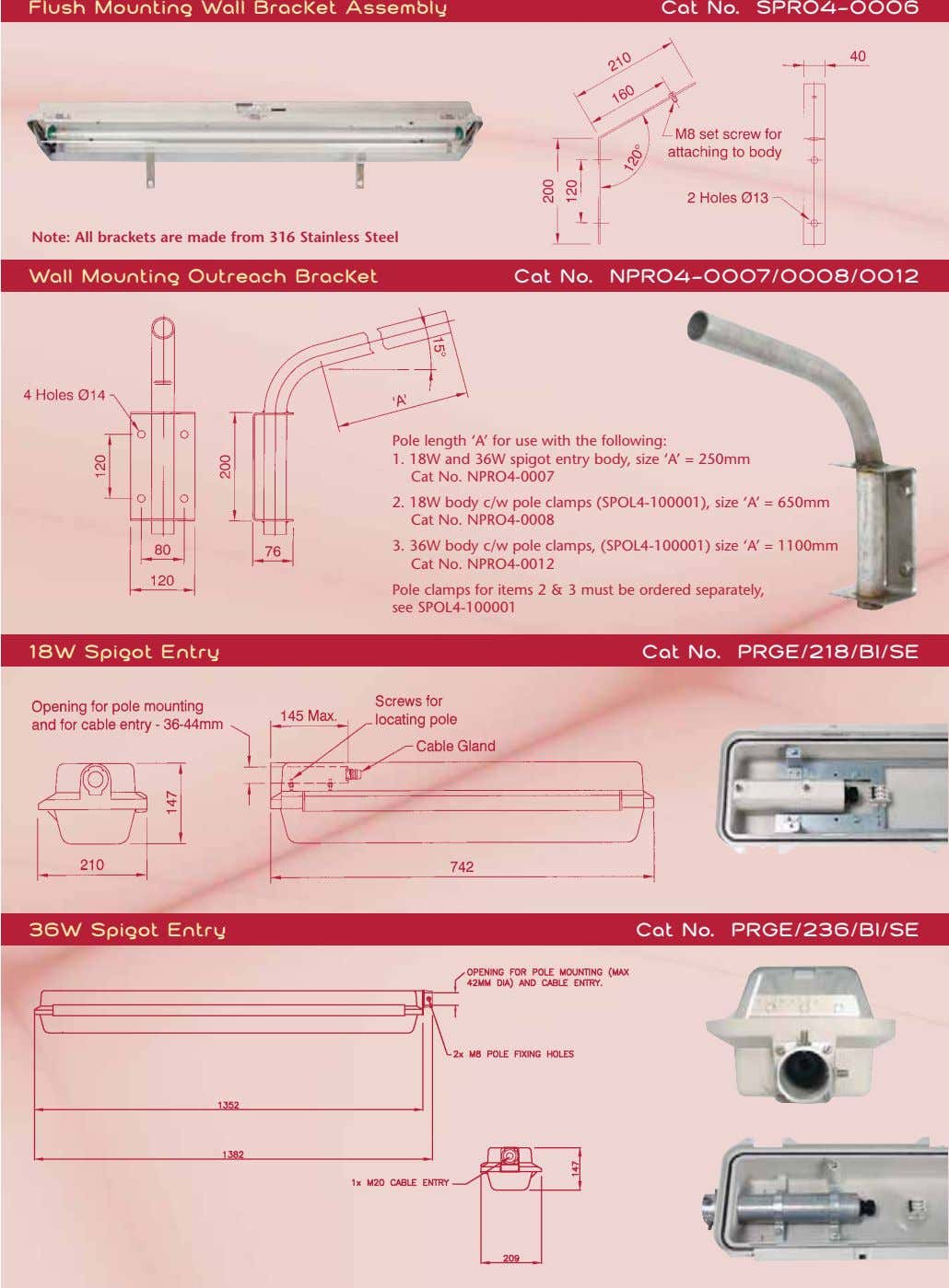 Flush Mounting Wall Bracket Assembly Cat No. SPRO4-0006 Note: All brackets are made from 316