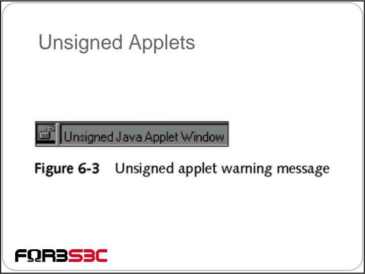 Unsigned Applets
