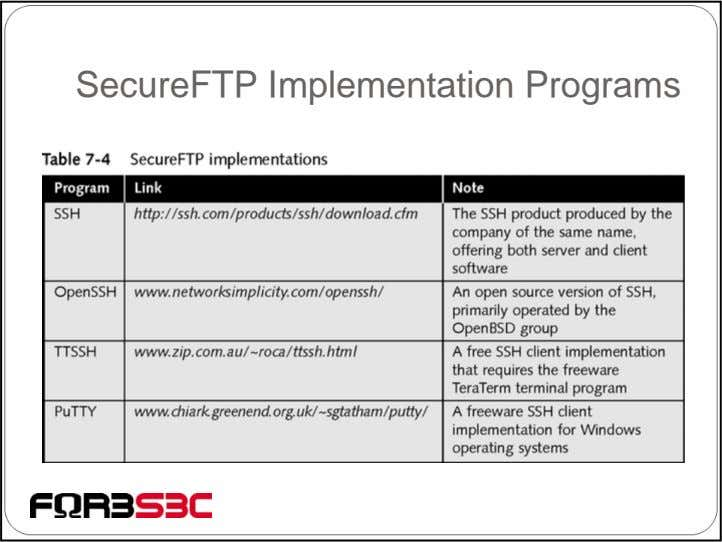 SecureFTP Implementation Programs