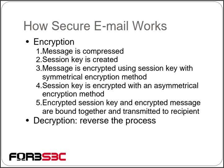 How Secure E-mail Works • Encryption 1.Message is compressed 2.Session key is created 3.Message is