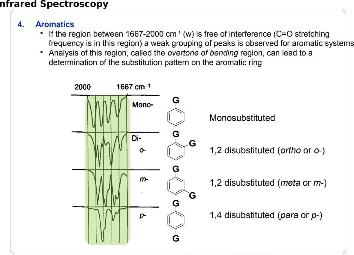 nfrared Spectroscopy 4. Aromatics • • If the region between 1667-2000 cm -1 (w) is free