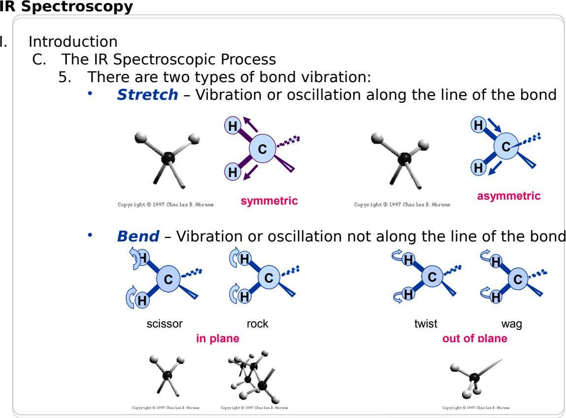 IR Spectroscopy I. Introduction C. The IR Spectroscopic Process 5. There are two types of bond