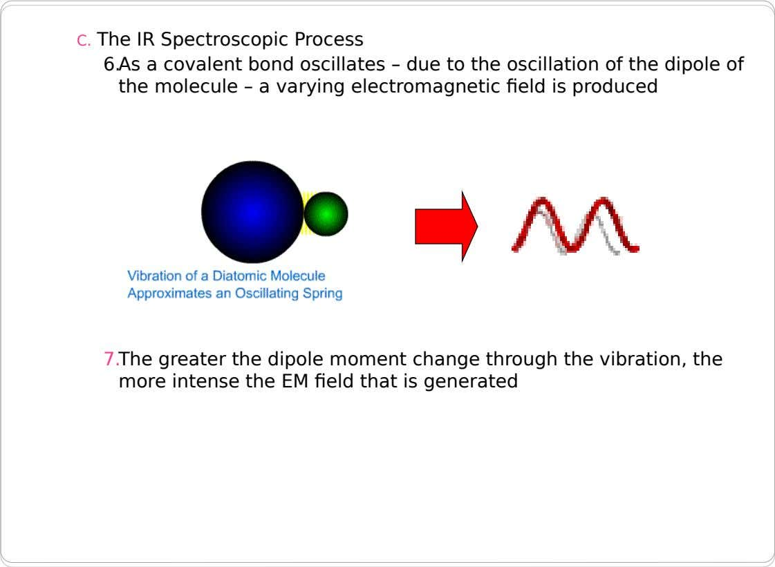 C. The IR Spectroscopic Process 6.As a covalent bond oscillates – due to the oscillation of