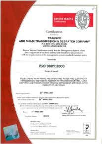 requirements and aims to enhance customer satisfaction. TRANSCO's Quality Management System has been certified by