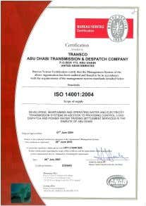 and corrective actions, auditing and review activities TRANSCO's Environment Management System has been certified