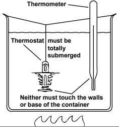 Thermometer Thermostat must be totally submerged Neither must touch the walls or base of the