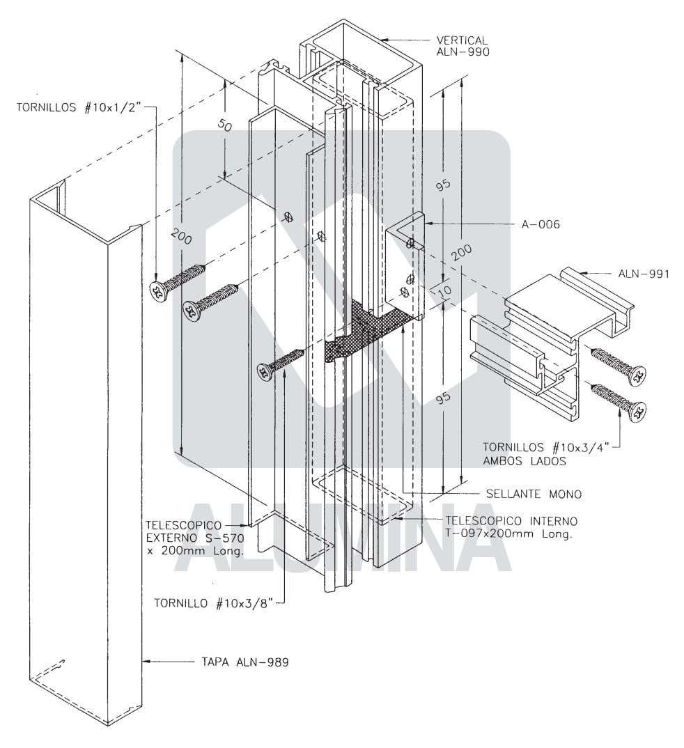 Curtain Walls Walls Series Series 1100 1100 Unión de verticales con telescópico Vertical telescopic joints 2-15
