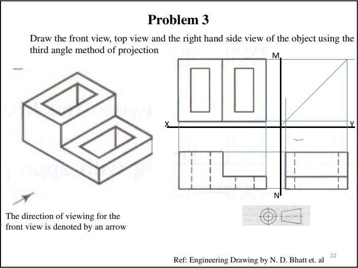 Problem 3 Draw the front view, top view and the right hand side view of