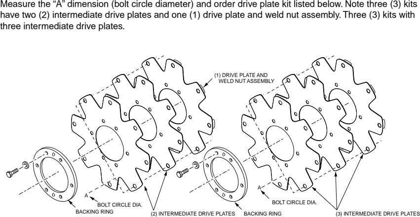 "Measure the ""A"" dimension (bolt circle diameter) and order drive plate kit listed below. Note"