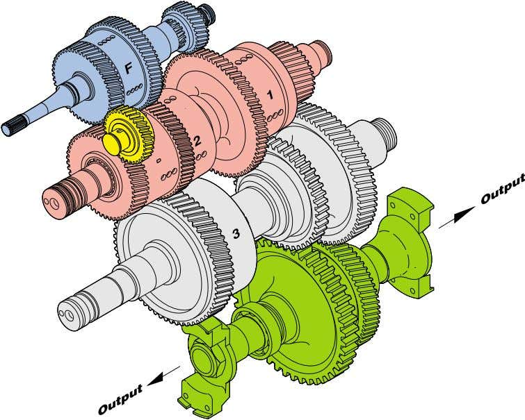 Operation of the transmission 6.4.2 6-Speed with range shift Forward 1st, 2nd and Reverse Reverse idler