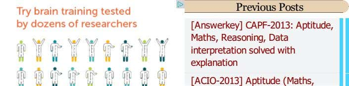 Previous Posts [Answerkey] CAPF-2013: Aptitude, Maths, Reasoning, Data interpretation solved with explanation