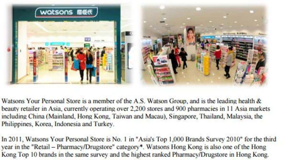 MYSTERY SHOPPING GUIDELINES 1. INTRODUCTION Area: Watsons There are three types of Watson 's store in