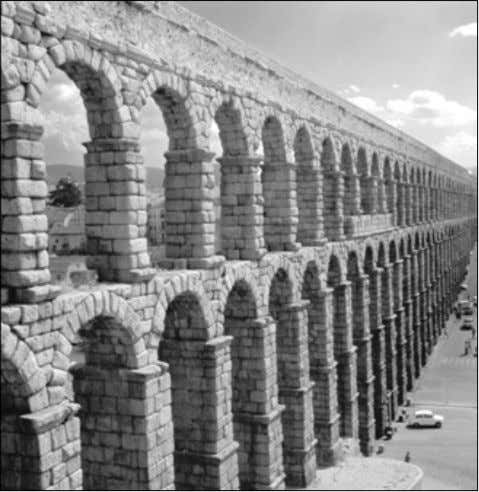 traveled about the empire without fear for their safety. One of many aqueducts constructed by the