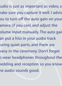 hear thIs advIce audio is just as important as video, so make sure you capture it