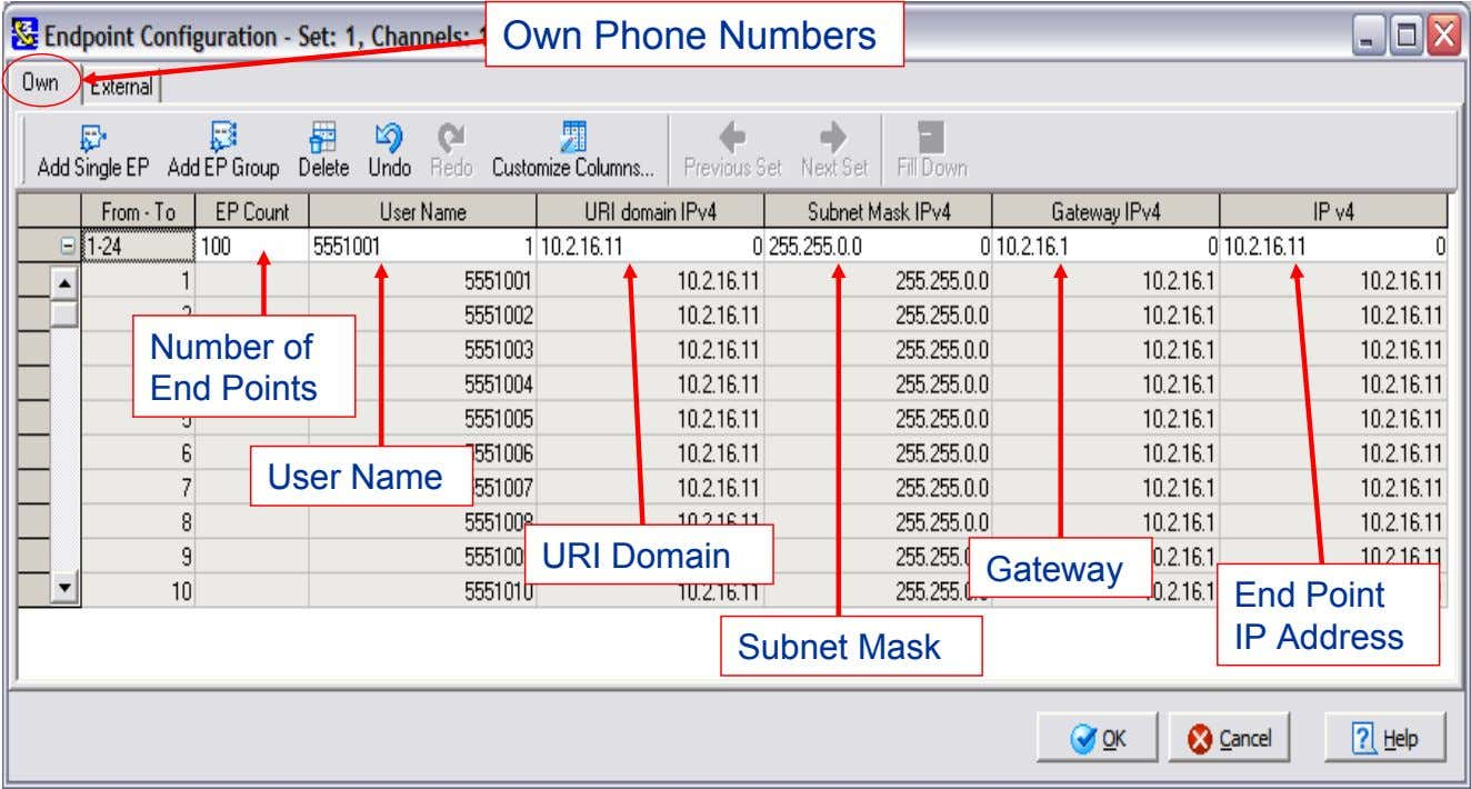 Own Phone Numbers Number of End Points User Name URI Domain Gateway End Point IP