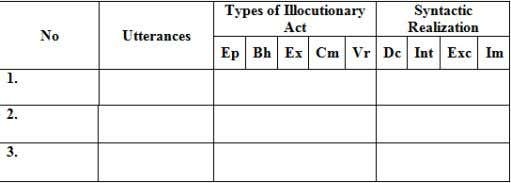 realization which will be displayed in the systematic table. Elaboration of the codes: Ep: Expositives Bh:
