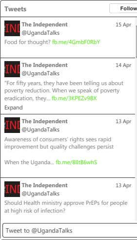 Tweets Follow The Independent 15 Apr @UgandaTalks Food for thought? fb.me/4GmbF0RbY The Independent 14 Apr