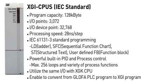 XGI-CPUS (IEC Standard) Program capacity: 128kByte I/O points: 3,072 I/O device point: 32,768 Processing speed:
