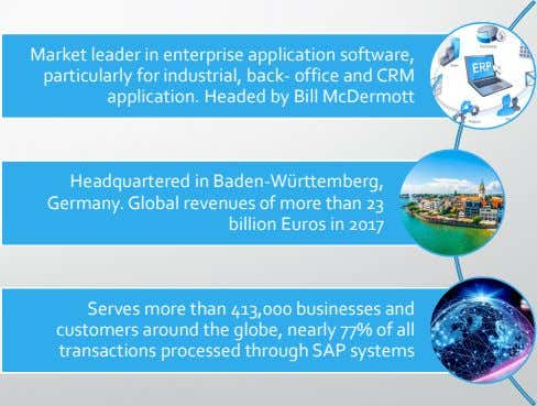 Market leader in enterprise application software, particularly for industrial, back- office and CRM application. Headed