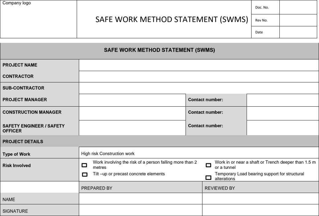 Company logo Doc. No. SAFE WORK METHOD STATEMENT (SWMS) Rev No. Date SAFE WORK METHOD