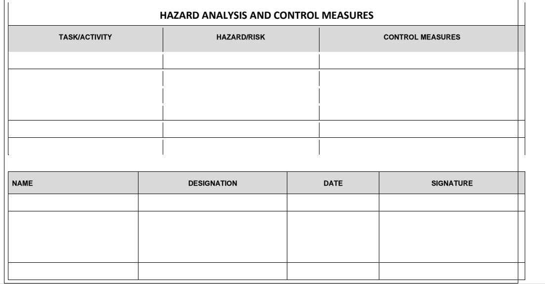 HAZARD ANALYSIS AND CONTROL MEASURES TASK/ACTIVITY HAZARD/RISK CONTROL MEASURES NAME DESIGNATION DATE SIGNATURE