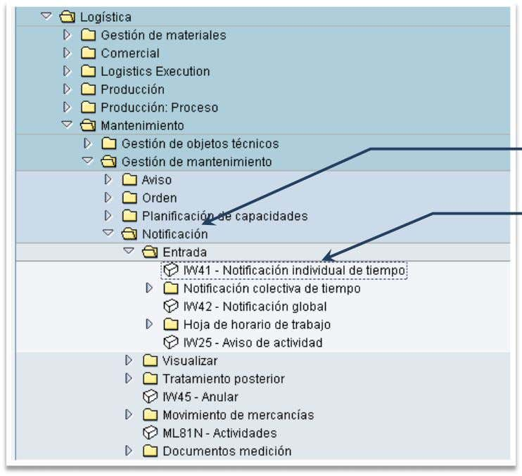 Orden y Notificacion en SAP PM. Instructor:   Notificación IW41: Notificación individual Ingreso a