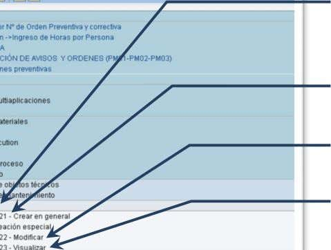 Orden y Notificacion en SAP PM. Instructor:   Aviso de Mantenimiento IW21: Crear Aviso IW22: Modificar