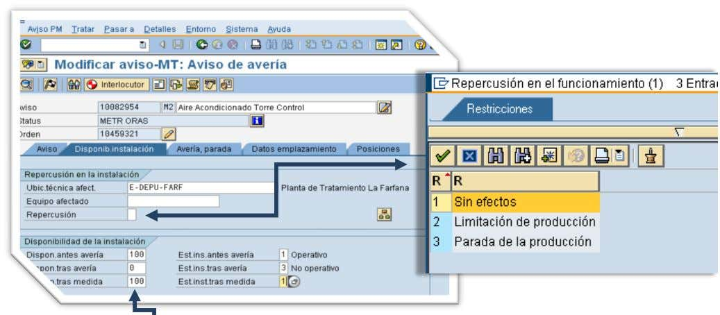 Orden y Notificacion en SAP PM. Instructor:   Repercusión en la Instalación : Est.inst.antes avería: