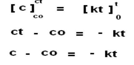 Equation for zero order: a [A] k Product (P) Rate = - dc/dt = K [c]