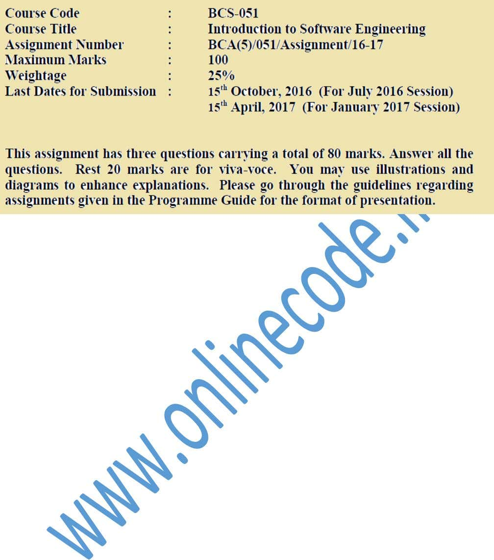 www.onlinecode.in Provided By : Online Code Prepared by : IGNOU ROCK P a g e |
