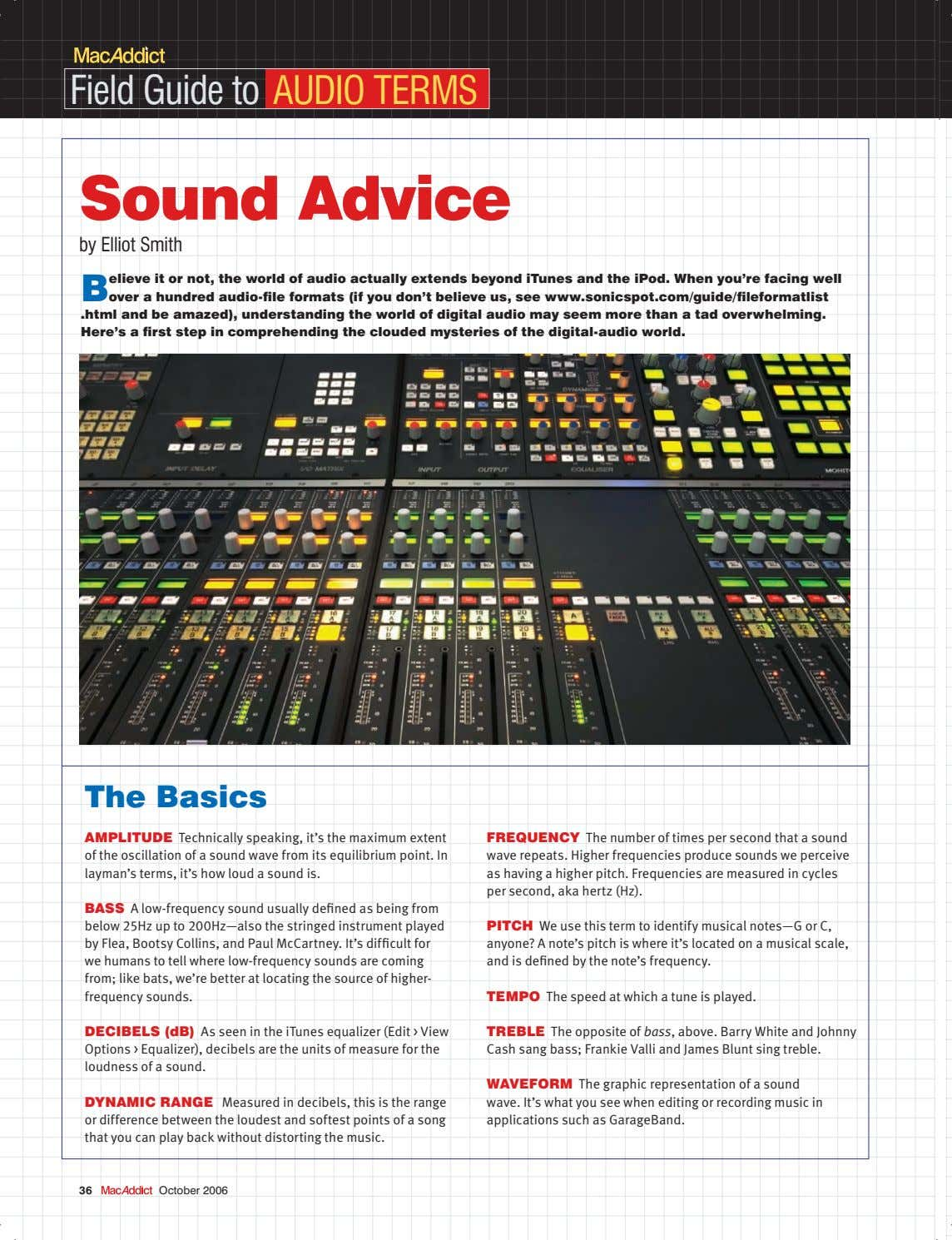 Field Guide to AUDIO TERMS sound Advice by Elliot Smith B elieve it or not,