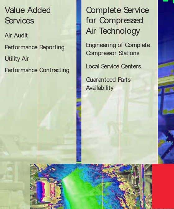 Value Added Services Complete Service for Compressed Air Technology Air Audit Performance Reporting Engineering of