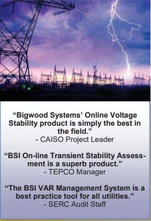 """Bigwood Systems' Online Voltage Stability product is simply the best in the field."" - CAISO"