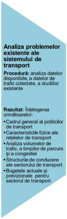 Analiza problemelor existente ale sistemului de transport Procedur : analiza datelor disponibile, a datelor de