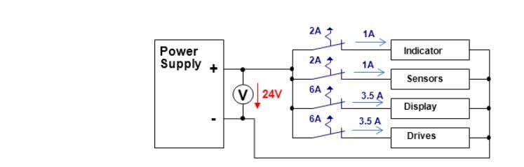 Consider a simple circuit of 2 —1 A and 2 — 3.5 A Loads The 1