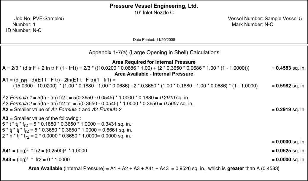 "Pressure Vessel Engineering, Ltd. 10"" Inlet Nozzle C Job No: PVE-Sample5 Number: 1 ID Number:"