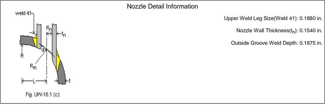 Nozzle Detail Information Upper Weld Leg Size(Weld 41): 0.1880 in. Nozzle Wall Thickness(t n ):