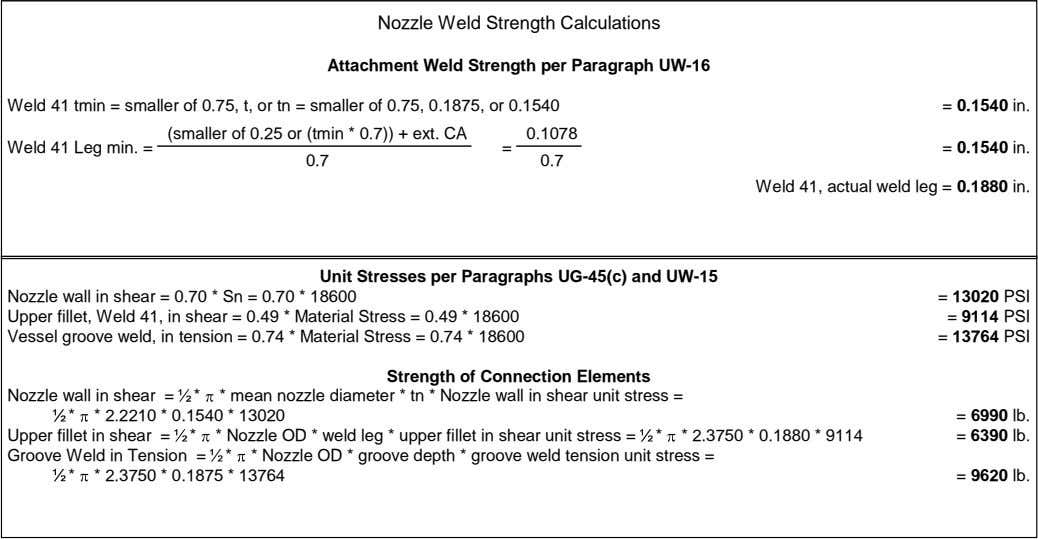 Nozzle Weld Strength Calculations Attachment Weld Strength per Paragraph UW-16 Weld 41 tmin = smaller