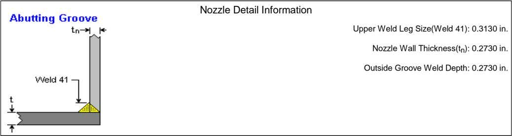 Nozzle Detail Information Upper Weld Leg Size(Weld 41): 0.3130 in. Nozzle Wall Thickness(t n ):