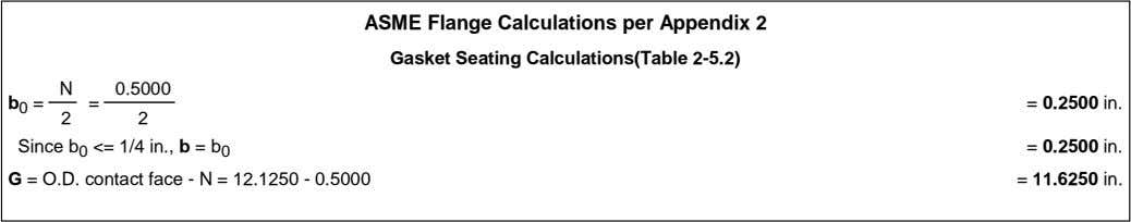 ASME Flange Calculations per Appendix 2 Gasket Seating Calculations(Table 2-5.2) N 0.5000 b 0 =