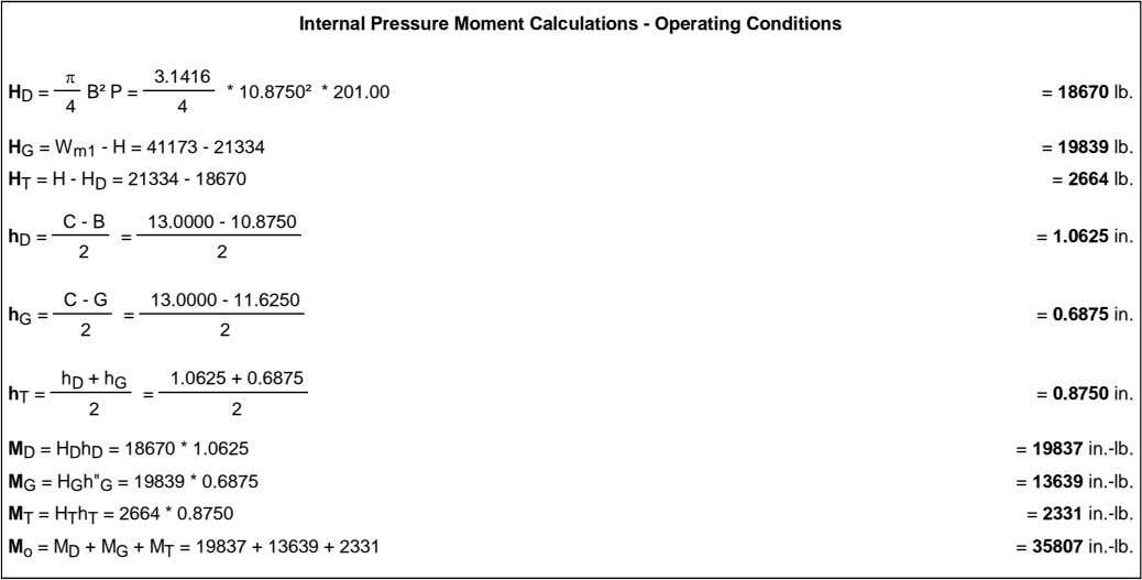 Internal Pressure Moment Calculations - Operating Conditions 3.1416 H B P = * 10.8750 *