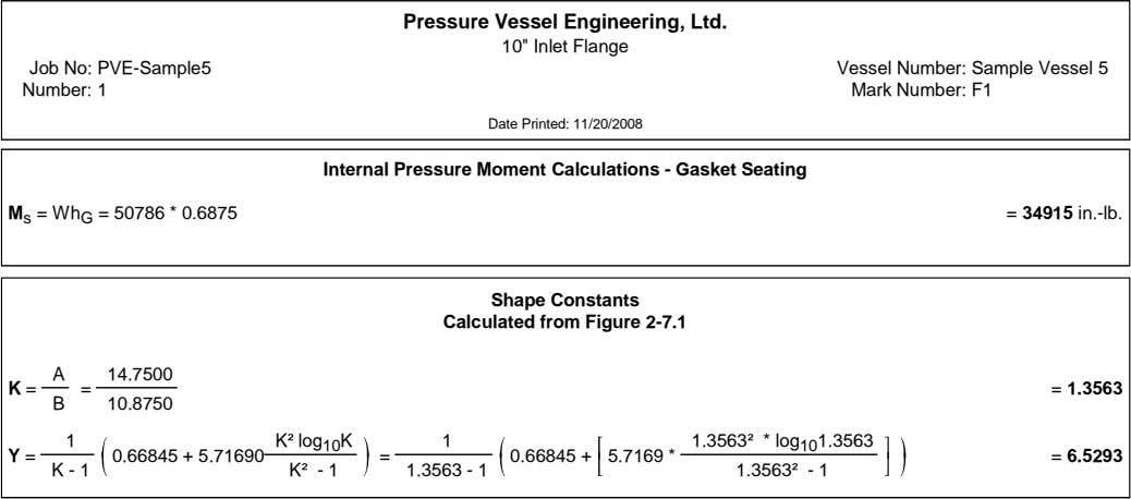 "Pressure Vessel Engineering, Ltd. 10"" Inlet Flange Job No: PVE-Sample5 Number: 1 Vessel Number: Sample"